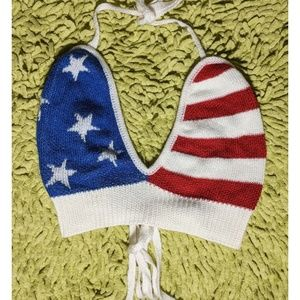 Charolette Russe Knitted Crop Top American Flag